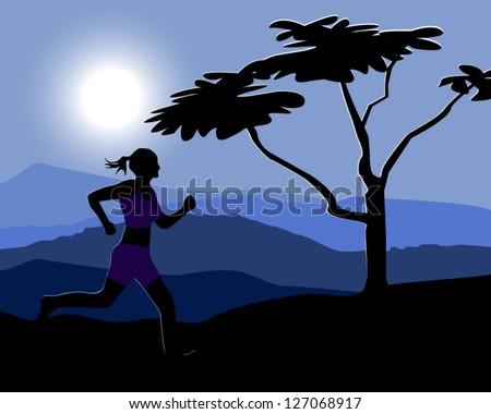 Woman jogging at night - stock vector