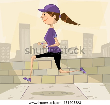 woman jogging in the city - stock vector