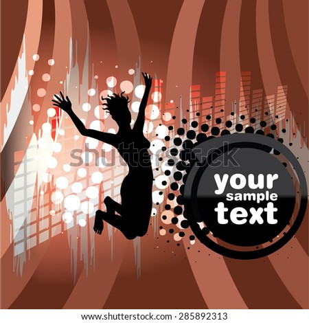 Woman Jumping Over Funky Background - stock vector
