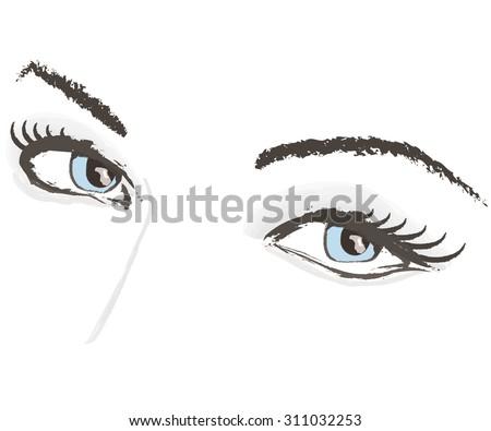 woman lashes beauty face raised eyebrow vector illustration portrait - stock vector