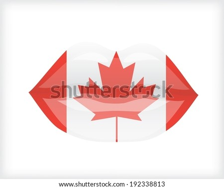 Woman lips with Canadian flag - stock vector