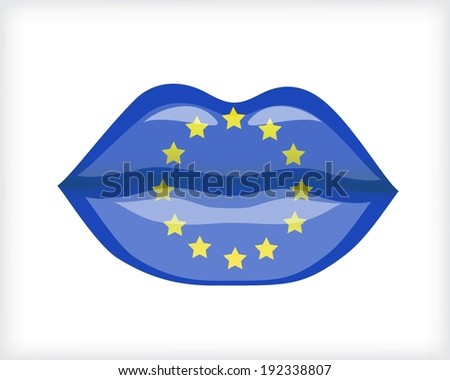 Woman lips with EU flag - stock vector