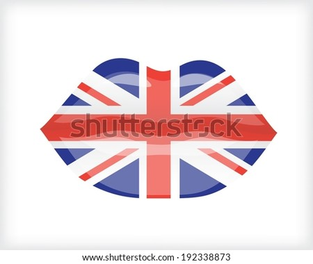 Woman lips with flag of England  - stock vector