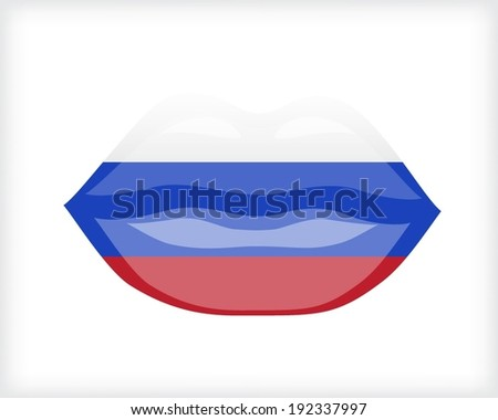 Woman lips with Russian flag - stock vector