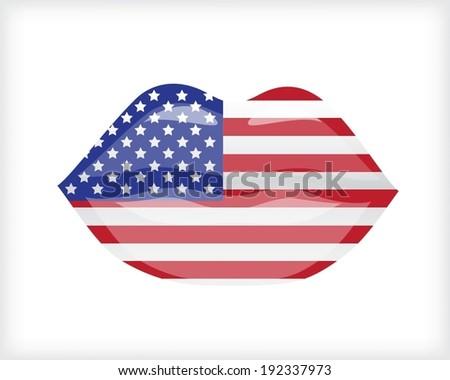 Woman lips with USA flag - stock vector