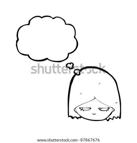 woman looking sideways with suspicious eyes cartoon - stock vector
