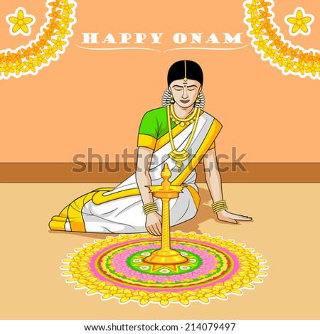 Woman making rangoli for Indian festival in vector - stock vector