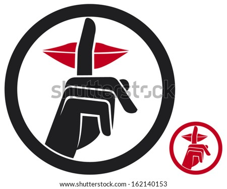 woman making silence sign (silence symbol, no speak sign, hand making silence sign)  - stock vector