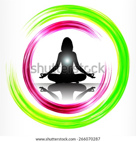 woman meditate green pink abstract circle background, yoga. white background. - stock vector