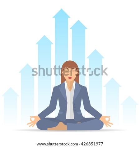 Woman meditates at work in the lotus pose. Businesswoman sitting in an office on a background of increasing graphs. Flat vector business concept illustration of manager meditation. Infographic element - stock vector