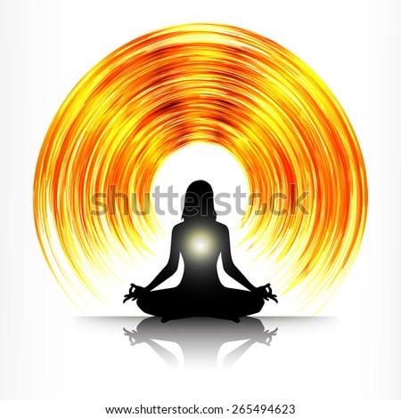 woman meditation on orange gold abstract background. yoga. white - stock vector