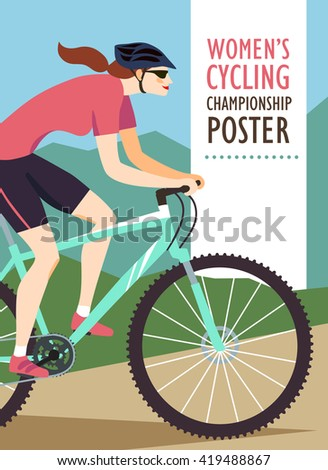 Woman mountain cyclist in action on landscape background.  - stock vector