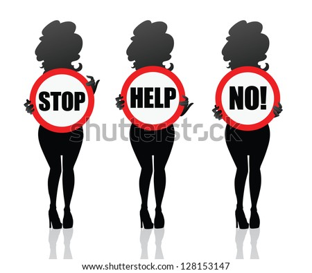 woman need help.  Girl keeping help sign in the hands. Woman silhouette isolated. Symbol for sites, banners, cards or stickers - stock vector