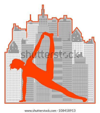 woman of yoga makes exercise on urban background - stock vector