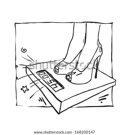 woman on scales. Vector sketch - stock vector