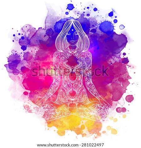 Woman ornate silhouette sitting in lotus pose. Meditation concept. Vector illustration. Over colorful watercolor background. - stock vector