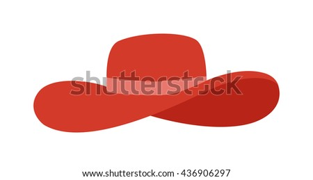 Woman panama red hat isolated on white background and flat vector girls hat. Fashion sun protection red panama hat and summer hat color design. Panama red hat style accessory - stock vector