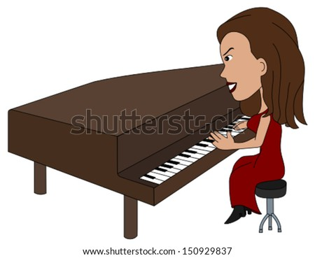 Woman piano player cartoon / illustration, coloring book line-art - stock vector