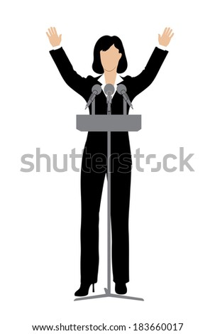 woman politician in front of a microphone - stock vector