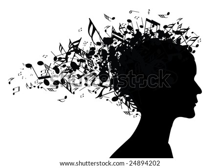 Woman portrait silhouette with notes as hair - stock vector