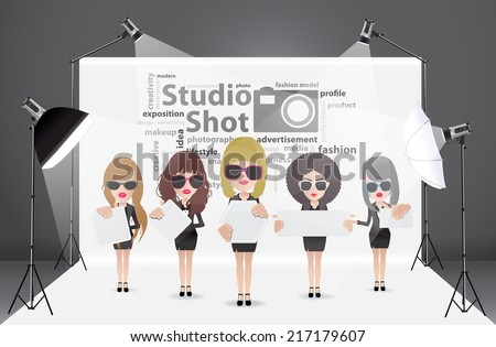 Woman posing fashion in photography studio with a light set up and white backdrop, with creative word cloud idea concept, Vector illustration modern template design - stock vector