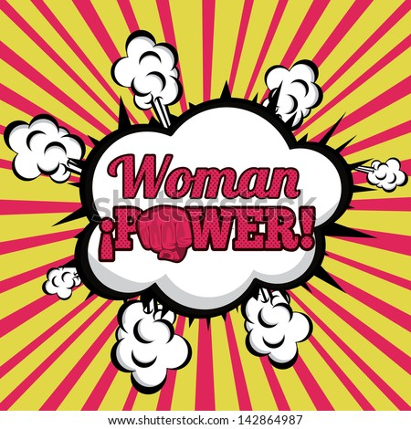 woman power comics over grunge background  vector illustration - stock vector