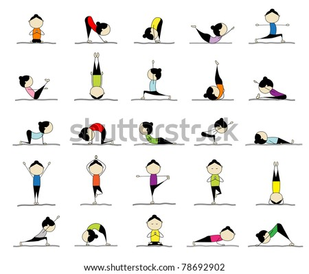 Woman practicing yoga, 25 poses for your design - stock vector