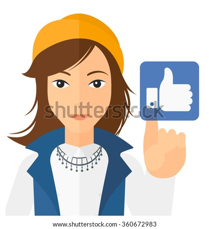 Woman pressing like button. - stock vector