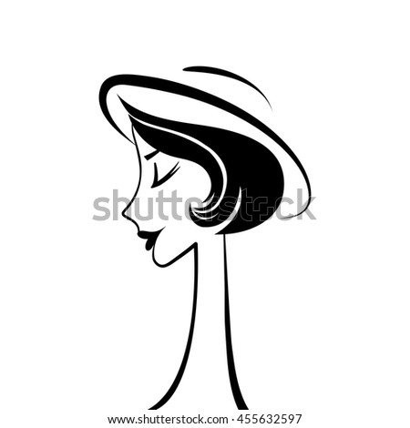 Woman profile silhouette black vector - stock vector