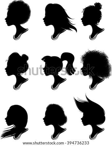 Woman Profile Silhouettes - Vector - Illustration  - stock vector