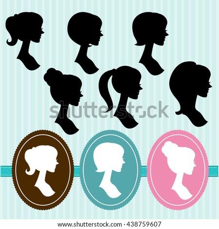 Woman Profile Silhouettes - Vector Set - stock vector