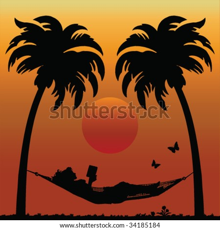Woman Reading in a Hammock Between Palm Trees - stock vector