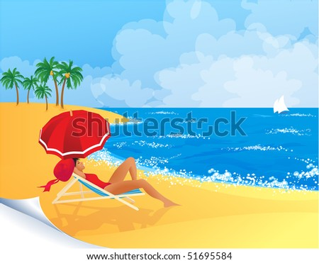 Woman relaxing on a tropical beach. Vector. - stock vector