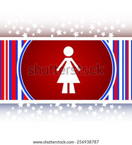 woman round glossy web icon on white background - stock vector