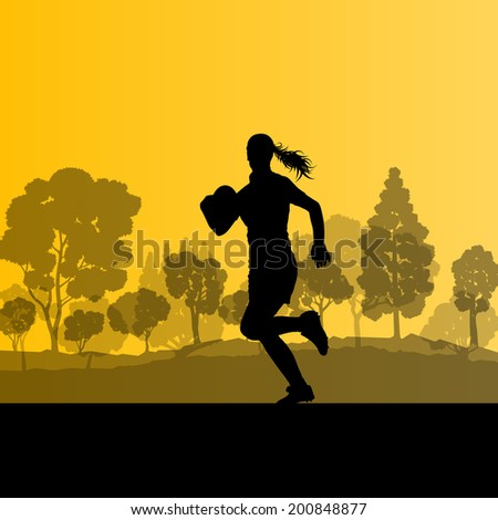 Woman rugby player silhouette in countryside nature background illustration vector - stock vector