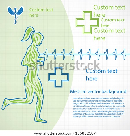 Woman running medical background  - stock vector