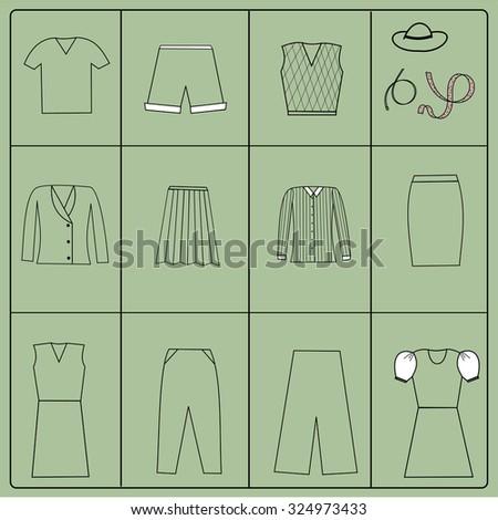 Woman's cloth collection - vector silhouette. EPS10 - stock vector