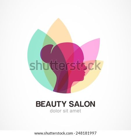 Woman's face in flower leaves. Abstract design concept for beauty salon, massage, cosmetic and spa. Vector logo design template.  - stock vector
