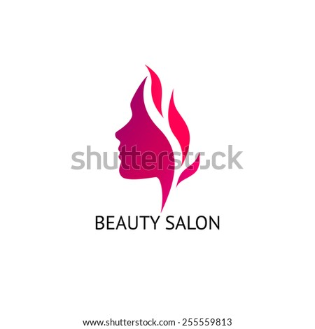 Woman's face silhouette. Abstract business concept for beauty salon, barber shops, massage, cosmetic and spa. Vector logo design template. - stock vector
