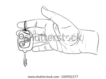 Woman's hand giving key from modern car. Sketch illustration. - stock vector