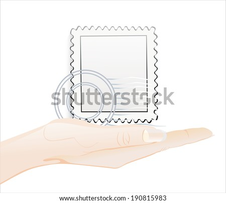 Woman's hand holding object-Blank postage stamps isolated on white background. - stock vector