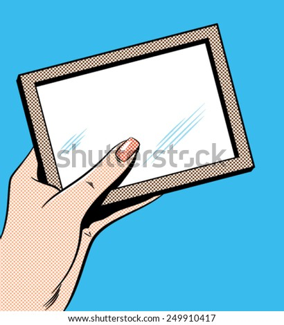 Woman's Hand Holding Picture Frame - Separate dot and solid color layers - stock vector