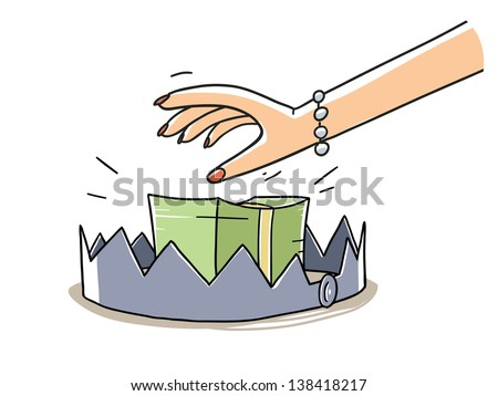 woman's hand taking a dollars stack on the bear trap. Finance risk concept. cartoon illustration isolated on white background - stock vector