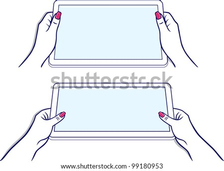 Woman's hands keeps tablet device isolated on white background - stock vector