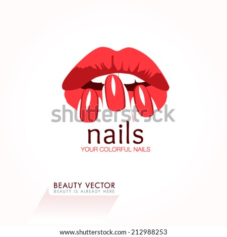 Woman's lips & nails silhouette illustration. Vector Icon business sign template for Beauty Industry, Nail Salon, Beauty Salon, Manicure, Spa Boutique, Cosmetic procedures, Cosmetic labeling. Editable - stock vector