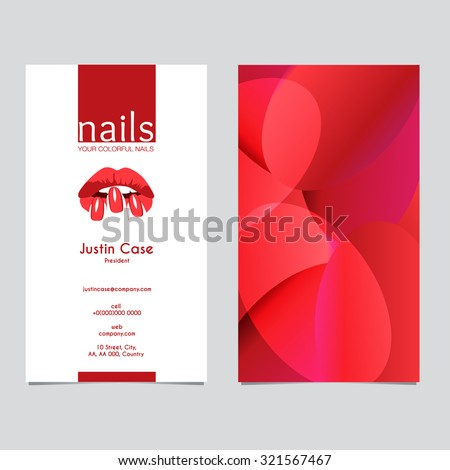 Woman's lips nails silhouette vector icon & business card template. Business sign for beauty industry, manicure, spa boutique, nail salon, cosmetic package labeling & procedures. Layered, editable  - stock vector