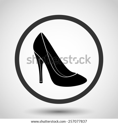 Woman's shoes vector icon - black illustration - stock vector