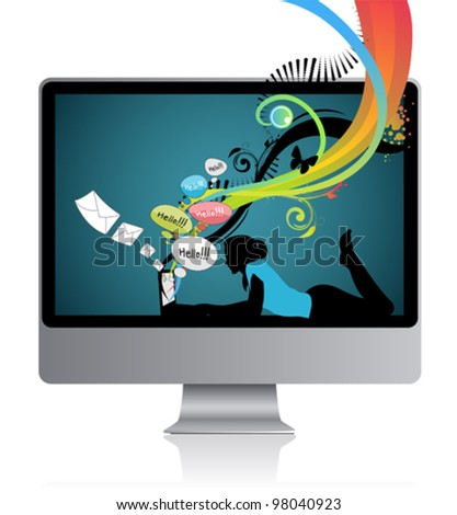 Woman screen wallpaper - stock vector