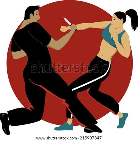 Woman self defense practice  - stock vector