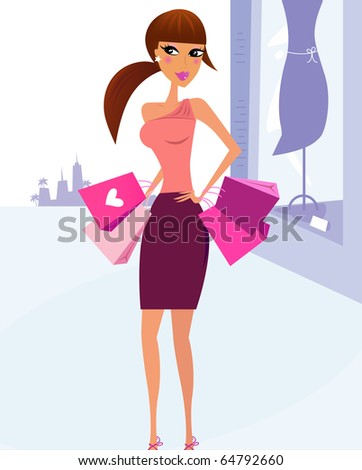 Woman Shopping in the City with boutique display in background. Vector Illustration. - stock vector